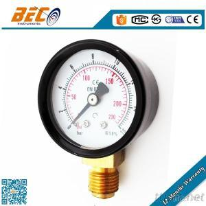 Bourdon Tube Pressure Gauge With Black Steel Case And Brass Connection