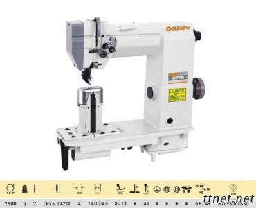Double-Needle Post Bed With Wheel Feed Needle Feed And Driver Roller Presser Lockstitch Sewing Machine