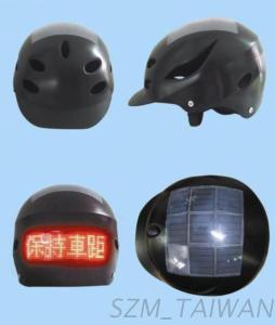 Bicycle Helmet With Solar Powered LED Display