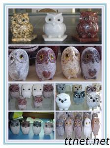 Natural Stone Carving Owls