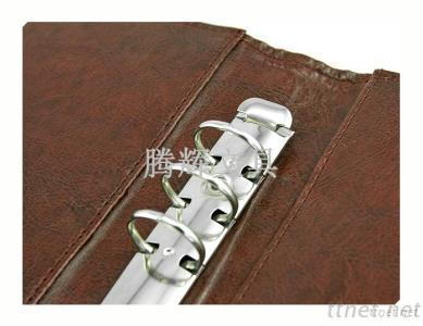9 ring binder a5 leather PU notebook ,logo printed ,logo embossed
