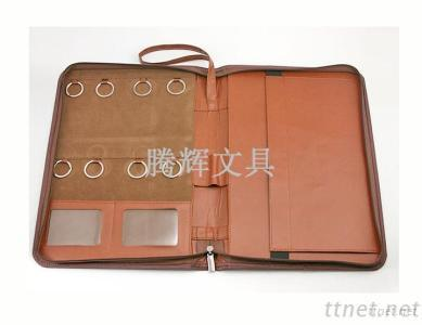 PU leather portfoil folder with key ring