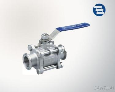 Sanitary Stainless Steel Non Retention Tri Clamp End Three Pieces Ball Valve