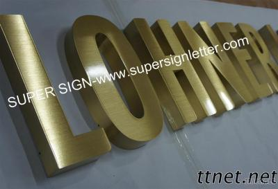Fabricated Brushed Brass Lettering Sign