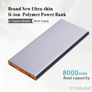 8000mah Aluminium Super Slim Protable Mobile Phone USB Charger power bank