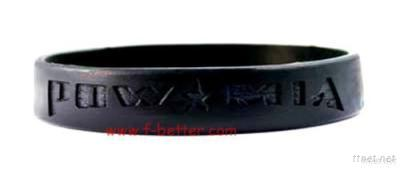 Black Half Circle Debossed Text Logo Silicone Bracelet For Promotional Gifts
