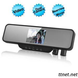 3.5 Inch LCD Screen Rearview Mirror DVR With Dual Swivel Camera