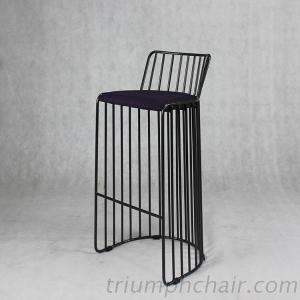 Triumph High Seat Wire Chair With Backrest, Metal Industrial Wooden Chair, Paris Bar Chair
