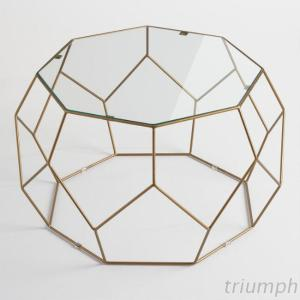 Triumph Fashion Faceted Metal Coffee Table, Golden Color Wire Frame End Table With Glass Top