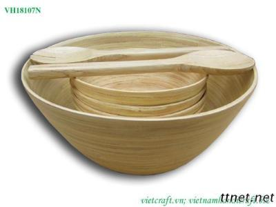 Set of Bamboo Bowl With Cutlery