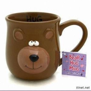 3D Lovely Ceramic Bear Cup,100% Hand-Painted Craft