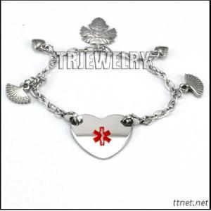 Stainless Steel Charm Medical ID Bracelet