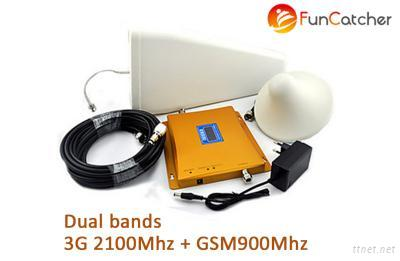 Dual Band 3G WCDMA 2100MHz GSM900MHz Mobile Phone Signal Booster With LCD Display