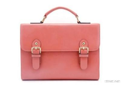 Coral Leather Briefcase