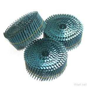 Blue Painted Coil Nails 64Mm