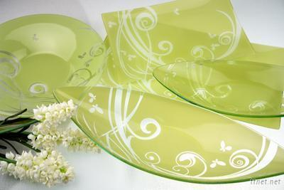 Liang Thing Glass Dancing Butterfly Decor Plate/Tray