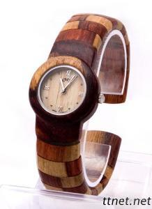 Lady'S Fashion Wooden Bangle Watches