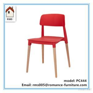 Plastic Chair With Wood Legs, Modern Plastic Dining Chair