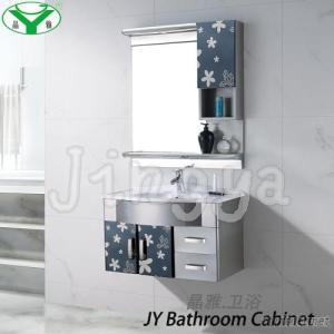 304 Stainless Steel Bathroom Vanity Cabinet With Mirror And Ceramic Basin JIngya Factory Wholesale