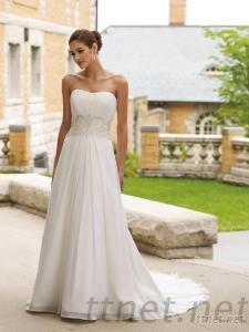 Chiffon Beaded Chapel A-Line Gown