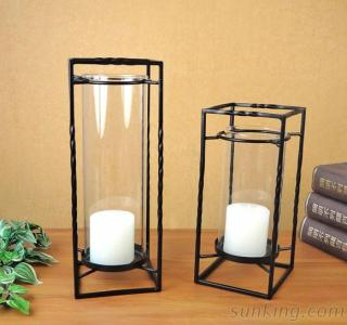 Cuboid Metal Candle Holder Set Of Two For Home Decoration