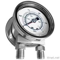 All Stainless Steel Differential Pressure Gauge (Dual Pointers & Bourdon Tubes Type) MDB-DPDB-SUS