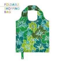 PM001-Green Hibiscus-Customized Tote Shopping Bags, Polyester Reusable Grocery Bag, Custom Logo Printing, Lightweight Foldable Bag.