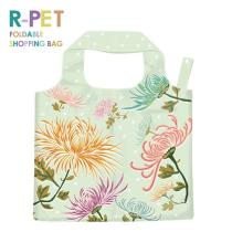 L014-Dendranthema - Wholesale 100% Recycled PET Bottles RPET Foldable Tote Shopping Bag, Dendranthema Flower Drawing Tote Resuable Bag.