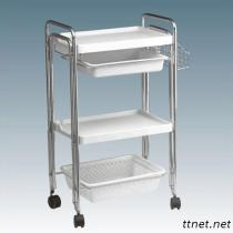 JM-2A8008A Beauty Salon Double Tube Instrument Trolley, Hair Salon Trolley