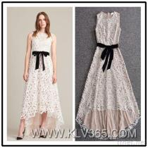 Summer Fashion Women Lace Floral Party Dress Short Front Long Back Style