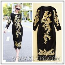 Women Long Sleeve Embroidered Party Prom Dress