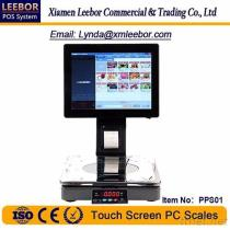 PPS01 Touch Screen PC Scales, Supermarket POS Terminal Weighing System, Prirce Computing Multi-language Receipt/ Bill Printing Scale