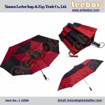 Black Red Color Double Layers/Canopy Long/Straight Golf Umbrella/ L-G006, Pongee, Kids Umbrella, Fold Umbrella, Golf Umbrella