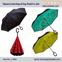 Double Layers/ Canopy Reverse/ Upside/ Shaft Down Cars Umbrella With C Handle/ L-R001, Pongee, Kids Umbrella, Fold Umbrella, Golf Umbrella, Straight Umbrella