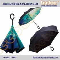 Full Printing C Handle Inverted Reverse Opening Umbrella For Promotion/ L-R003, Pongee, Kids Umbrella, Fold Umbrella, Golf Umbrella, Straight Umbrella