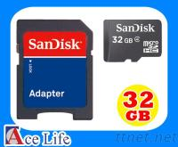 Sandisk 32G 32GB Class4 microSD micro SD SDHC T-Flash TF 記憶卡附轉卡